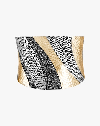 John Hardy Classic Chain Hammered Two-Tone XL Cuff 1