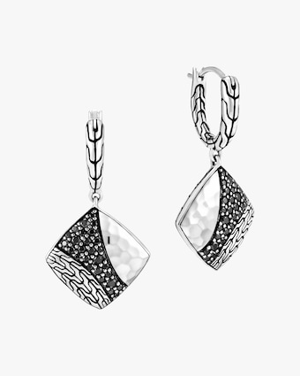 John Hardy Classic Chain Hammered Silver Square Drop Earrings 1