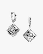 John Hardy Classic Chain Hammered Silver Square Drop Earrings 2