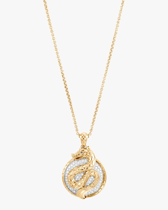 John Hardy Legends Naga 18K Gold & Pavé Diamond Pendant Necklace 1