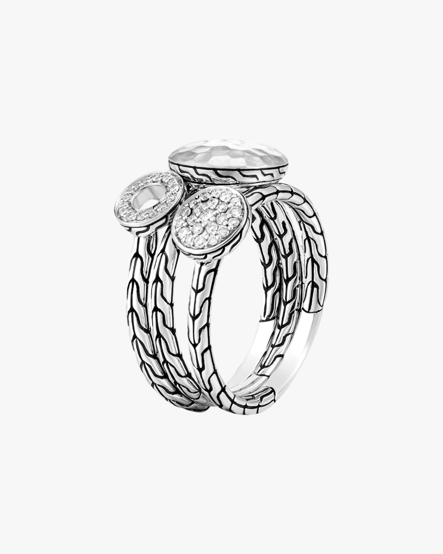 John Hardy Dot Hammered Silver Pavé Diamond Ring 1
