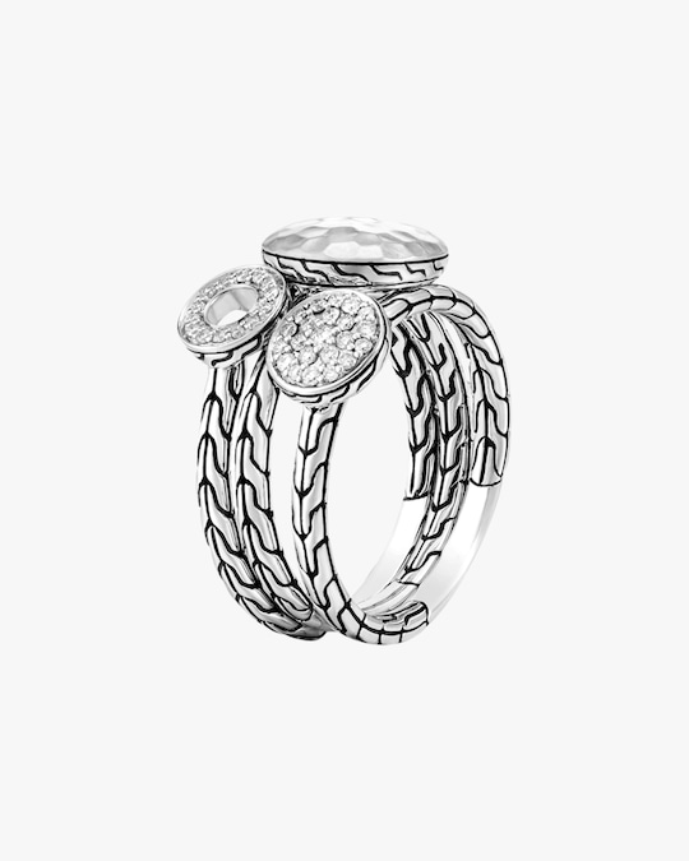 John Hardy Dot Hammered Silver Pavé Diamond Ring 0