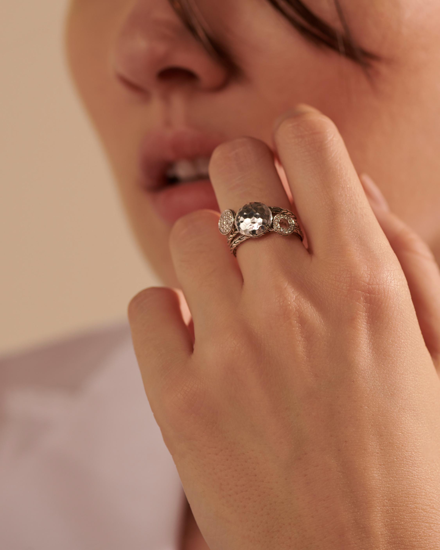 John Hardy Dot Hammered Silver Pavé Diamond Ring 2