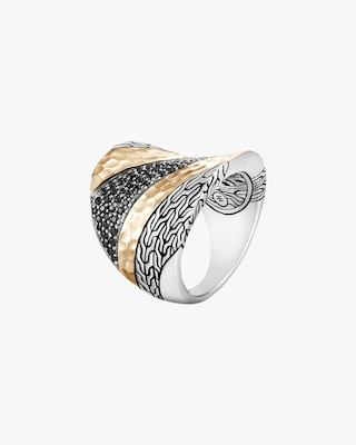 John Hardy Classic Chain Hammered Two-Tone Saddle Ring 1