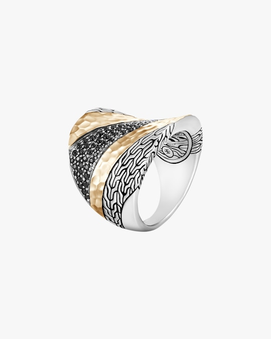 John Hardy Classic Chain Hammered Two-Tone Saddle Ring 0
