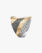 John Hardy Classic Chain Hammered Two-Tone Saddle Ring 2