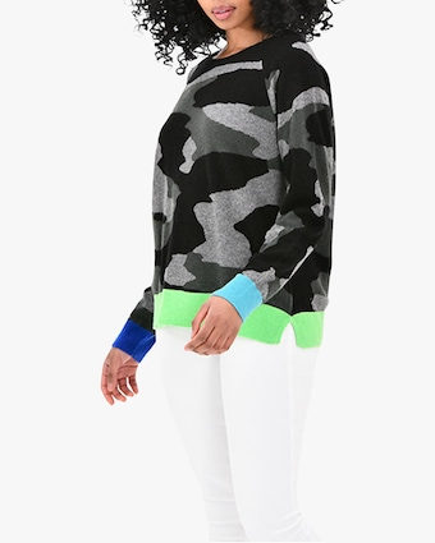 Brodie Cashmere Contrast Camo Cashmere Sweater 2