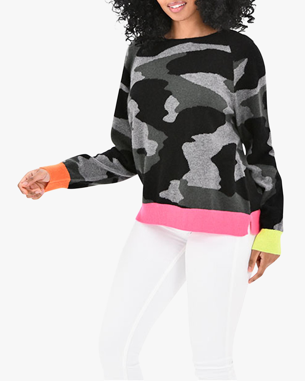Brodie Cashmere Contrast Camo Cashmere Sweater 1