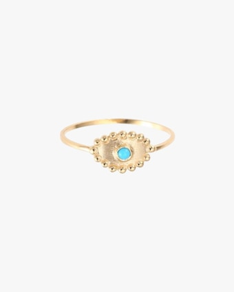 Anzie Turquoise Round Drop Evil Eye Ring 1