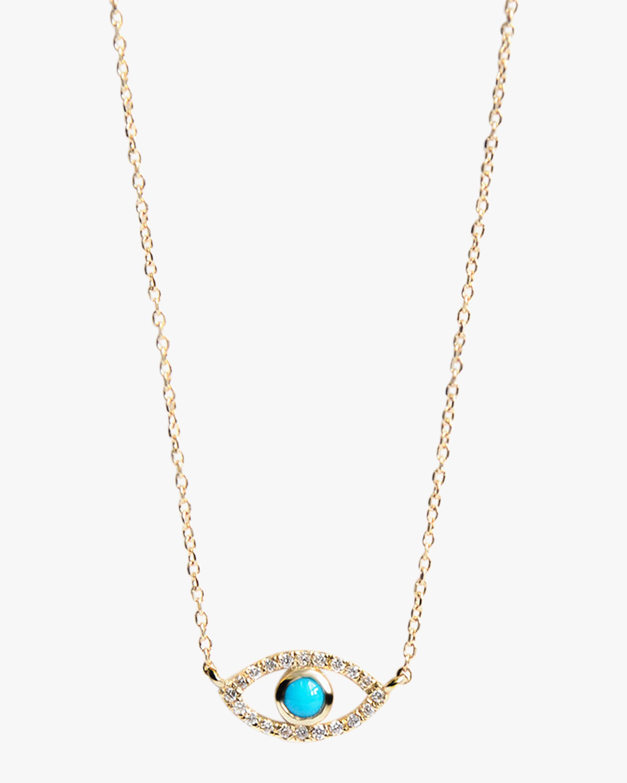 Anzie Necklaces DIAMOND & TURQUOISE EVIL EYE PENDANT NECKLACE