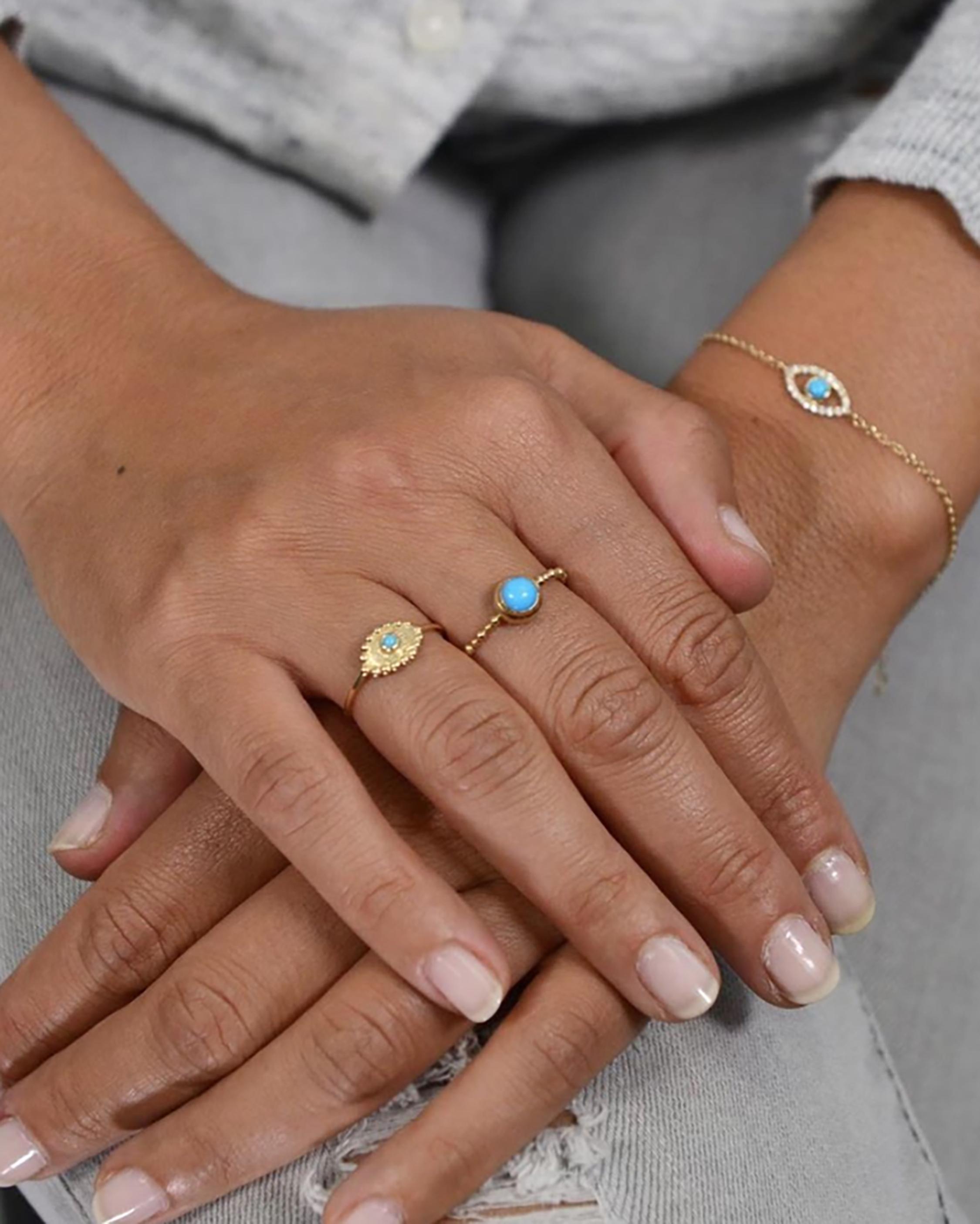 Anzie Diamond & Turquoise Evil Eye Bracelet 2