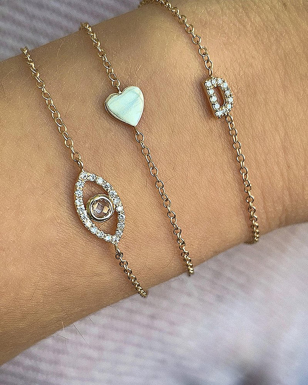 Anzie Topaz & Diamond Evil Eye Bracelet 2