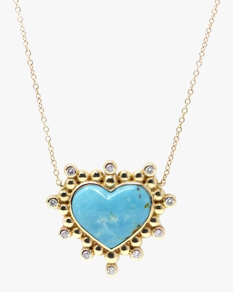 Anzie Diamond & Turquoise Marine Heart Pendant Necklace 2