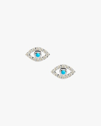 Anzie Turquoise & Sapphire Evil Eye Stud Earrings 2