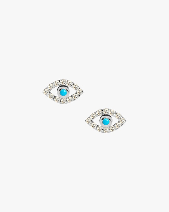 Anzie Turquoise & Sapphire Evil Eye Stud Earrings 0