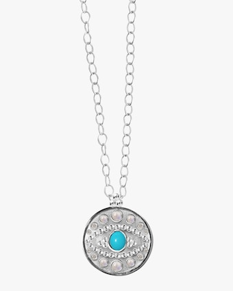 Anzie Turquoise & Moonstone Dew Drop Eye Pendant Necklace 2