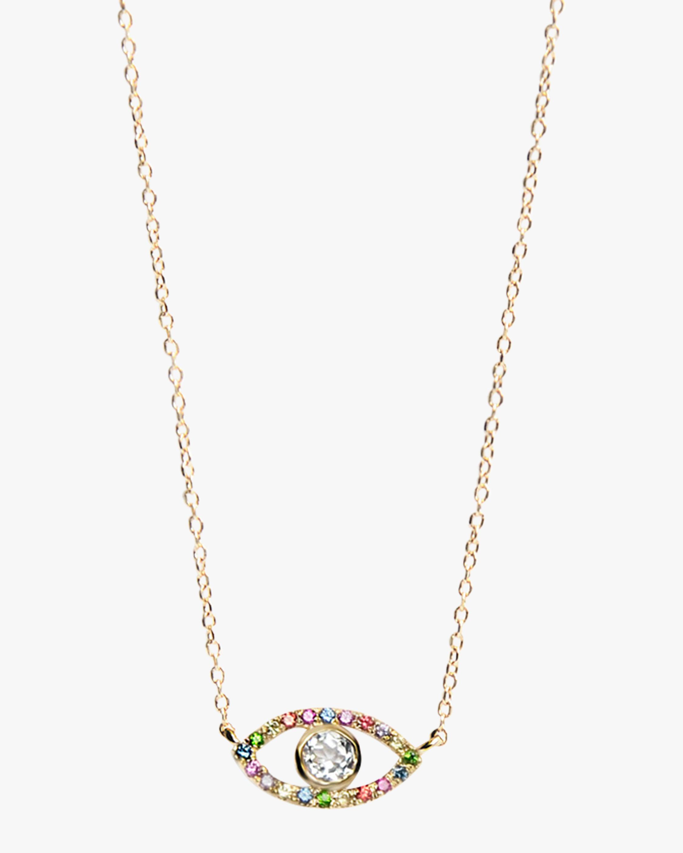 Anzie Topaz & Sapphire Evil Eye Pendant Necklace 1