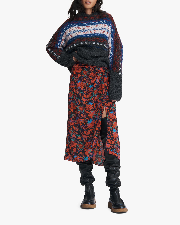 rag & bone Amber Draped Silk Skirt 1