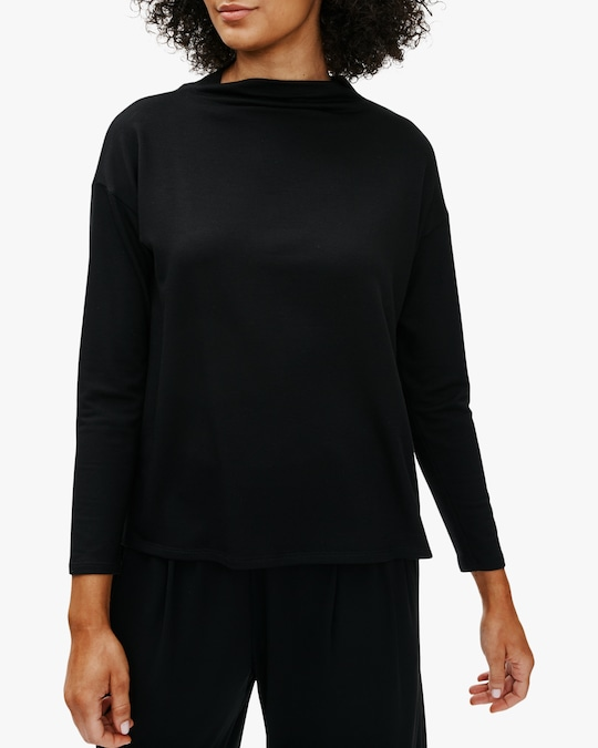 Eileen Fisher Boxy Funnel-Neck Top 0