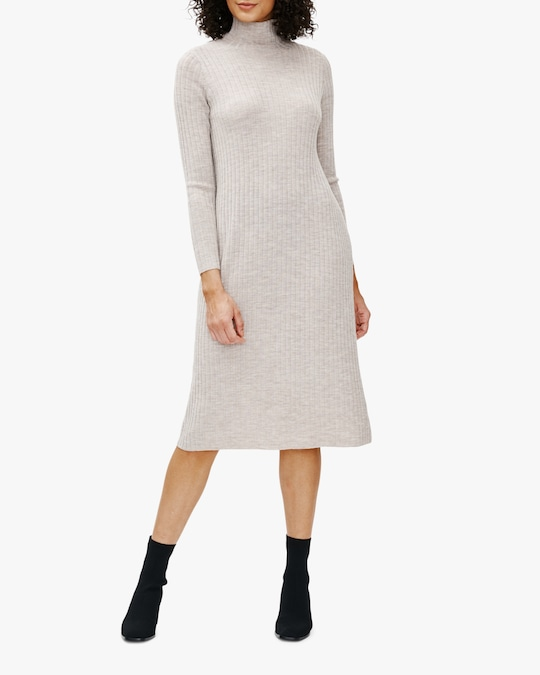 Eileen Fisher Scrunch-Neck Wool Shift Dress 0