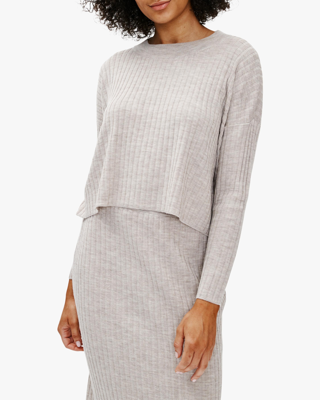 Eileen Fisher Crewneck Wool Crop Top 0