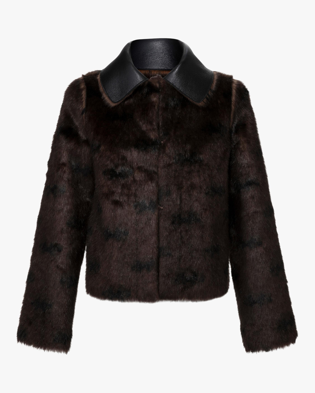 Marei 1998 Rose Vegan Leather & Faux Fur Reversible Coat 0