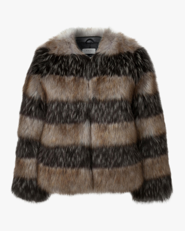 Marei 1998 Royal Lily Striped Faux Fur Coat 1