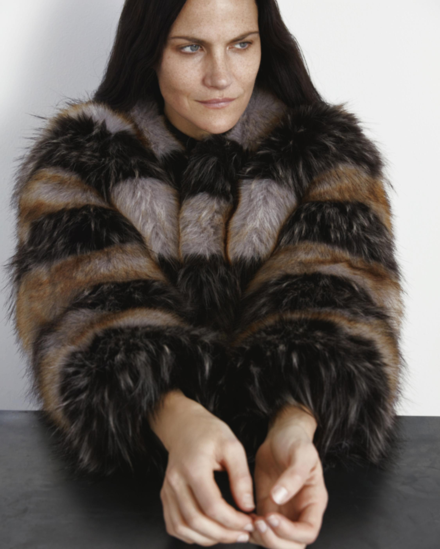 Marei 1998 Royal Lily Striped Faux Fur Coat 2