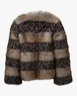 Marei 1998 Royal Lily Striped Faux Fur Coat 2