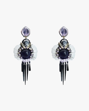 Ranjana Khan Amethyst & Silk Clip-On Earrings 1