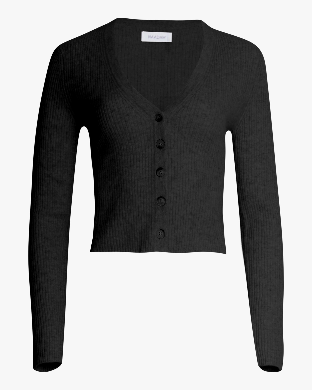 Naadam Cropped Cashmere V Neck Cardigan 1