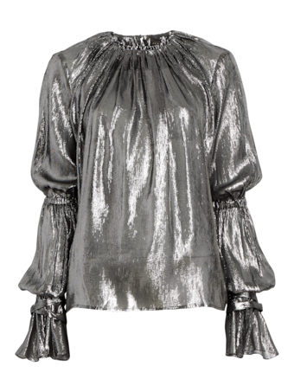 Metallic Shirred Flounce Sleeve Top
