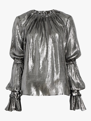 Metallic Shirred Flounce Sleeve Top