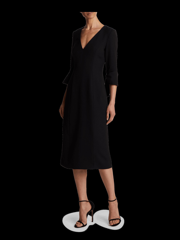 V-Neck Ruffle Cuff Dress