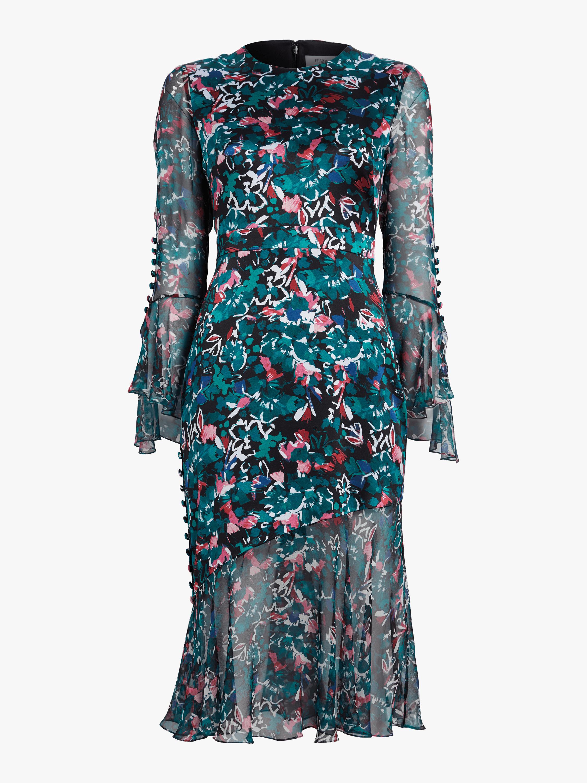 Ruffle Cuff Long Sleeve Dress