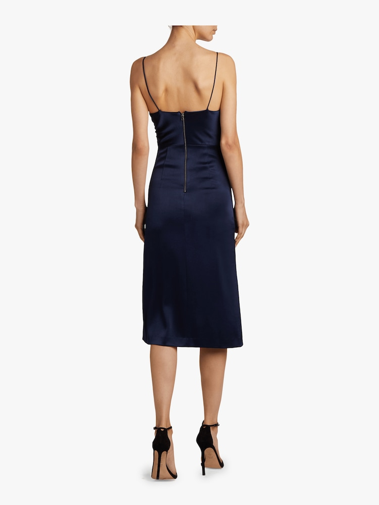 Dion Ruched Midi Slip Dress Alice and Olivia