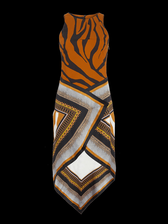 Animal Foulard Silk Satin Dress