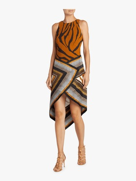 Animal Foulard Silk Satin Dress