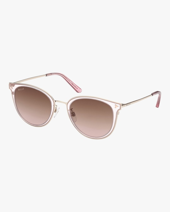 Bally Pale Gold Round Sunglasses 0