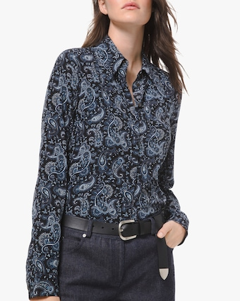 Michael Kors Collection Paisley Button Down Blouse 1