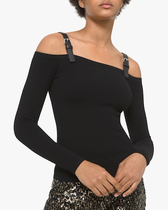 Michael Kors Collection Leather Strap Off-Shoulder Top 1