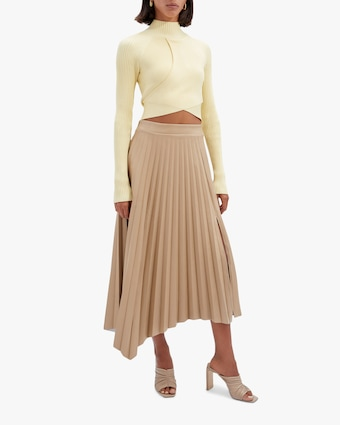 Jonathan Simkhai Jayla Faux Leather Pleated Skirt 1