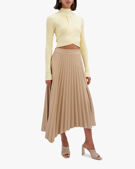 Jonathan Simkhai Jayla Faux Leather Pleated Skirt 0