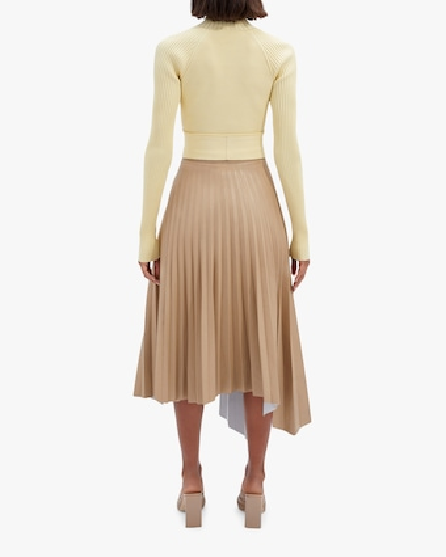 Jonathan Simkhai Jayla Faux-Leather Pleated Skirt 2
