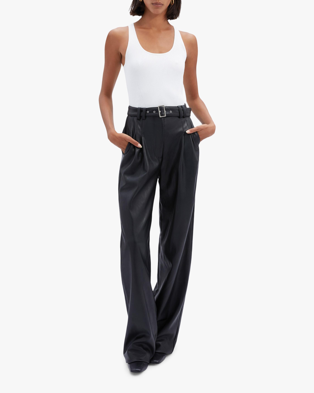 Jonathan Simkhai Delaney Faux-Leather Wide-Leg Pants 2