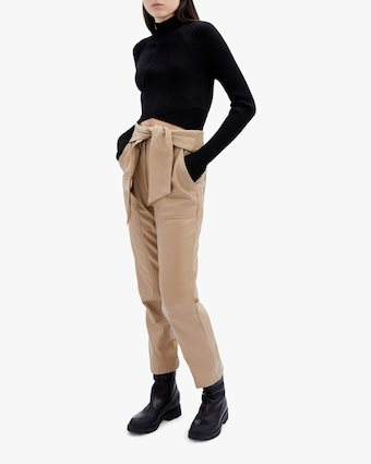 Jonathan Simkhai Tessa Faux Leather Tie-Waist Pants 2