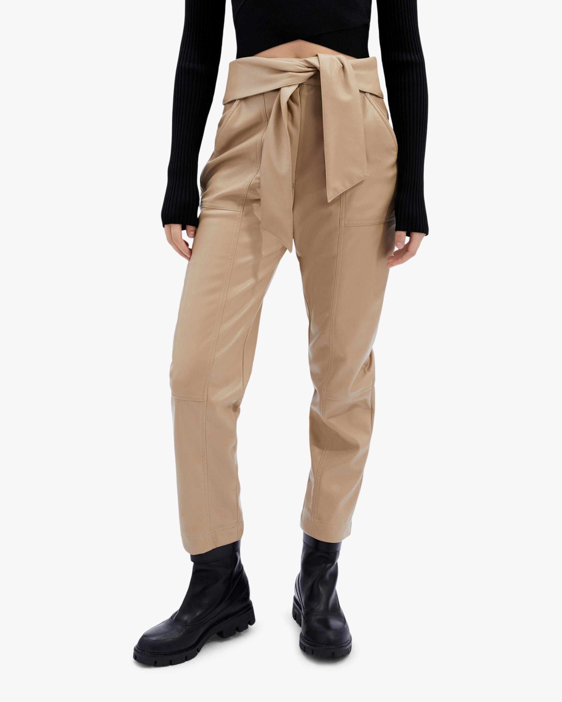 Jonathan Simkhai Tessa Faux Leather Tie-Waist Pants 1