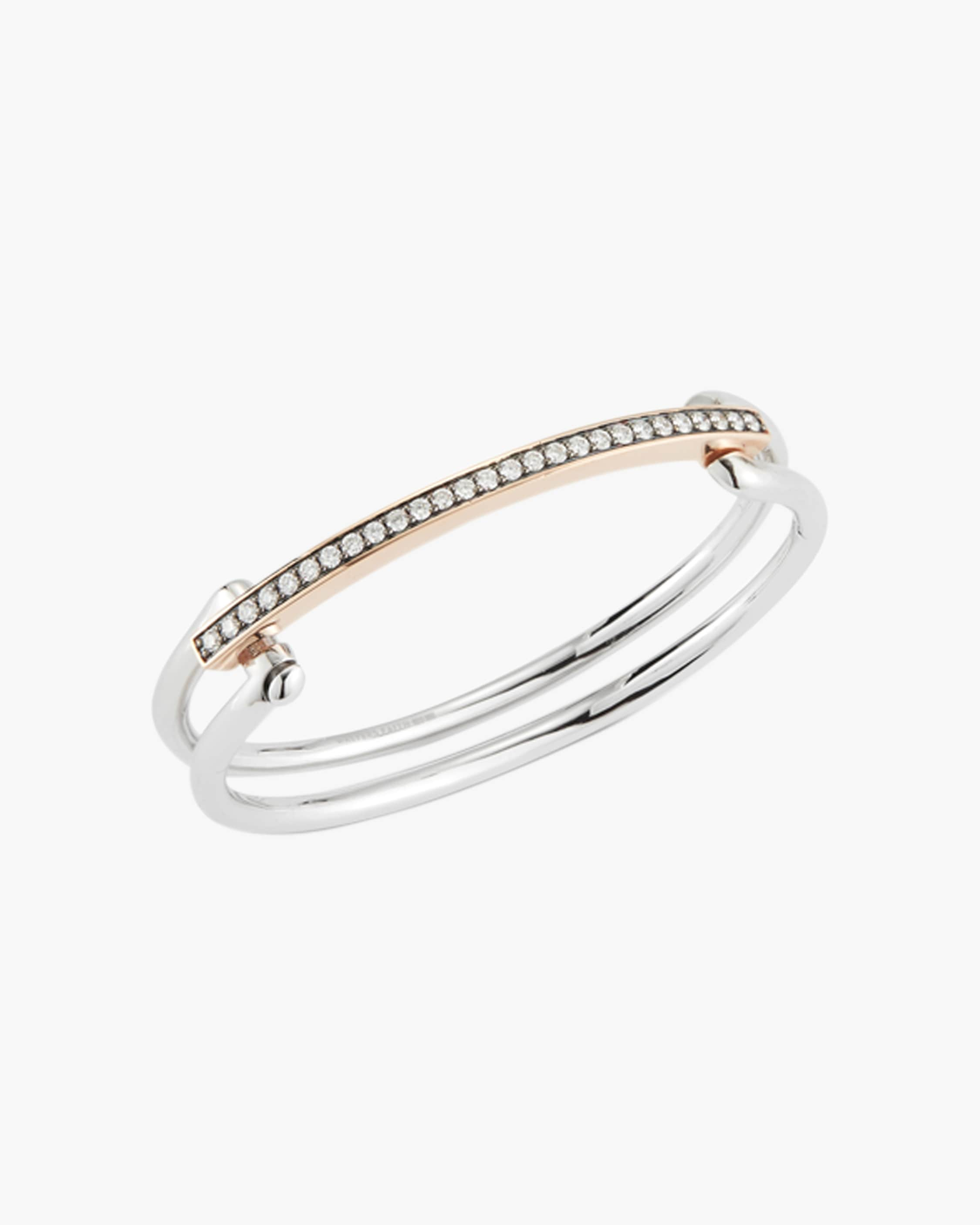 Walters Faith Two-tone Diamond Double Band Bracelet | Diamonds/rose Gold/sterling Silver