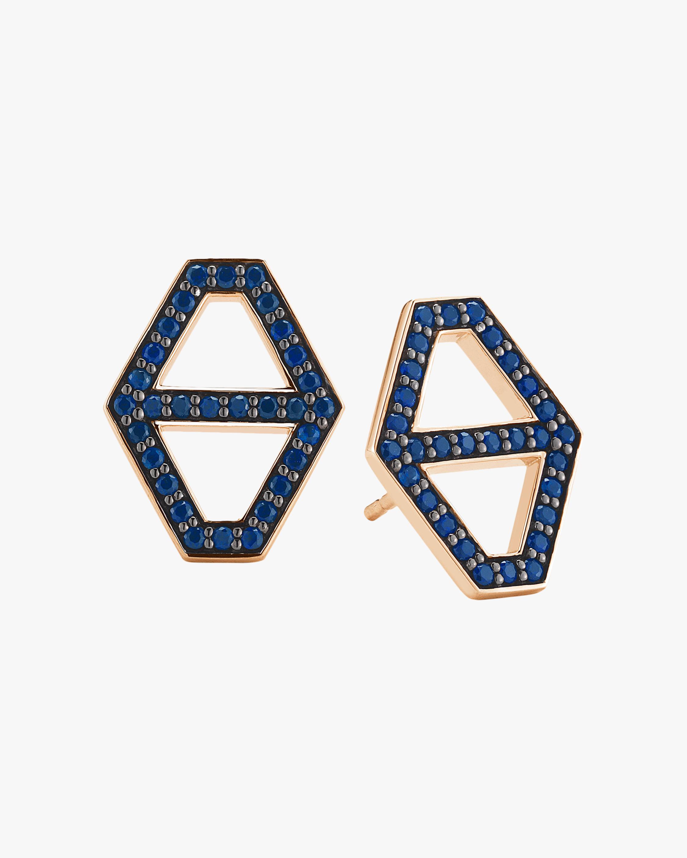 Walters Faith Blue Sapphire Hexagon Stud Earrings 1