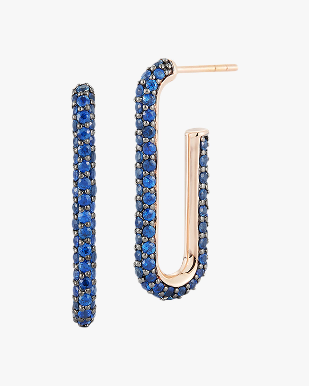Walters Faith Blue Sapphire Elongated Link Earrings 2